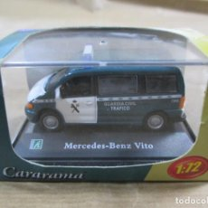 Coches a escala: ANTIGUO COCHE DE METAL 1/72 CARARAMA. ABG. MERCEDES BENZ VITO. GUARDIA CIVIL. CON CAJA. 6 CM. . Lote 163548672