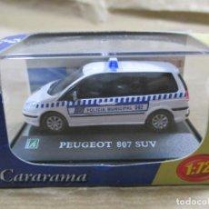 Coches a escala: ANTIGUO COCHE DE METAL 1/72 CARARAMA. ABG. PEUGEOT 807 SUV. POLICÍA MUNICIPAL. CON CAJA. 6 CM. . Lote 163548233