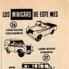 Coches a escala: PÁGINA PUBLICIDAD ORIGINAL *MINI-CARS ANGUPLAS: LAND-ROVER · DKW COMBI* - AÑO 1959. Lote 36705159