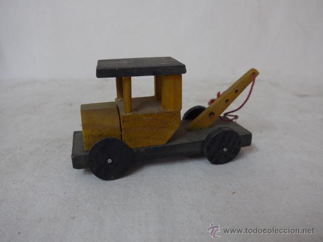 Antiguo coche grua de madera de juguete comprar coches - Juguetes antiguos de madera ...