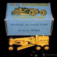 Coches a escala: CATERPILLAR MOTOR GRADER Nº 12 ART. 504, METAL ESC. 1/130, MERCURY ITALY, ORIGINAL AÑOS 50. CON CAJA. Lote 50494920