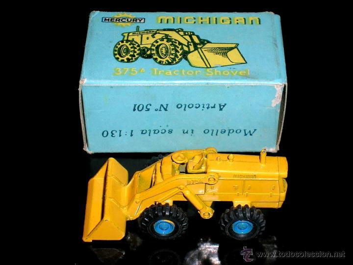 MICHIGAN TRACTOR SHOVEL 375A ART. 501, METAL ESC. 1/130, MERCURY ITALY, ORIGINAL AÑOS 50. CON CAJA (Juguetes - Coches a Escala Otras Escalas )