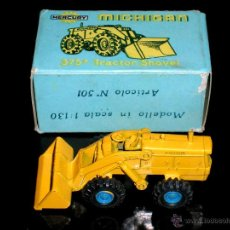 Coches a escala: MICHIGAN TRACTOR SHOVEL 375A ART. 501, METAL ESC. 1/130, MERCURY ITALY, ORIGINAL AÑOS 50. CON CAJA. Lote 50495040