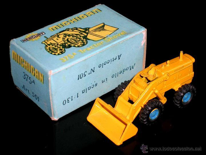 Coches a escala: Michigan Tractor Shovel 375A art. 501, metal esc. 1/130, Mercury Italy, original años 50. Con caja - Foto 3 - 50495040