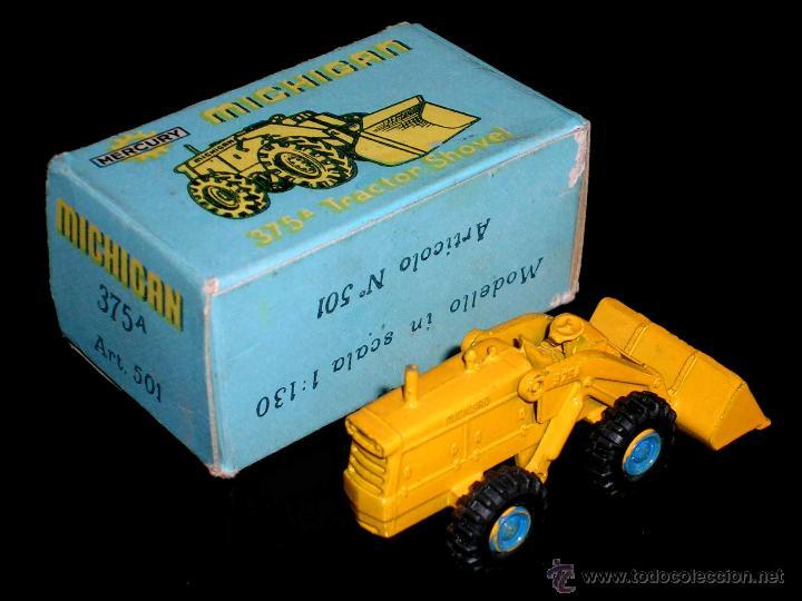 Coches a escala: Michigan Tractor Shovel 375A art. 501, metal esc. 1/130, Mercury Italy, original años 50. Con caja - Foto 4 - 50495040