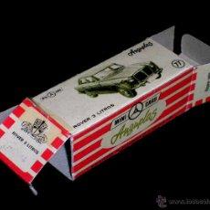 Coches a escala: CAJA VACÍA EMPTY BOX ROVER 3 LITROS Nº 77, ESC. 1/86 H0, ANGUPLAS MINI-CARS. ORIGINAL AÑO 1961.. Lote 51650948