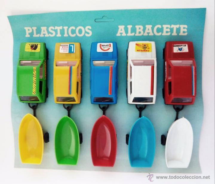 5 COCHES A ESCALA CON REMOLQUE. PLASTICOS ALBACETE. AÑOS 80. NUEVOS. (Juguetes - Coches a Escala Otras Escalas )