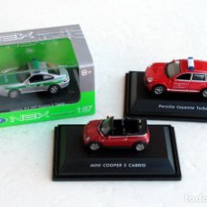 Coches a escala: WELLY NEX • 3 MINIATURAS MODELS COCHES (MINI CABRIO, CAYENNE, PORSCHE CARRERA) • DIECAST H0 / 1:87. Lote 96457543