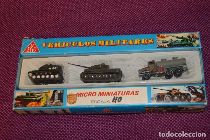 Coches a escala: CAJA/estuche con 3 MICRO MINIATURAS VEHÍCULOS MILITARES ESCALA H0 EKO - MADE IN SPAIN ¡Dificil! 04 - Foto 2 - 103533955