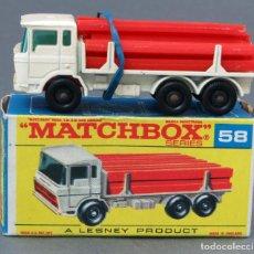 Coches a escala: CAMIÓN TUBOS GIRDER TRUCK MATCHBOX LESNEY Nº 58 CON CAJA AÑOS 60. Lote 122563983