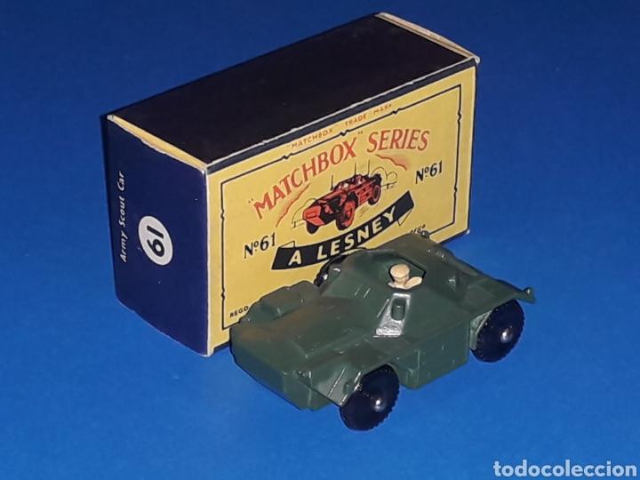 Coches a escala: Ferret Scout tanqueta militar ref. 61-A, metal esc 1/87, Lesney Matchbox England, año 1959. Con caja - Foto 2 - 126255523