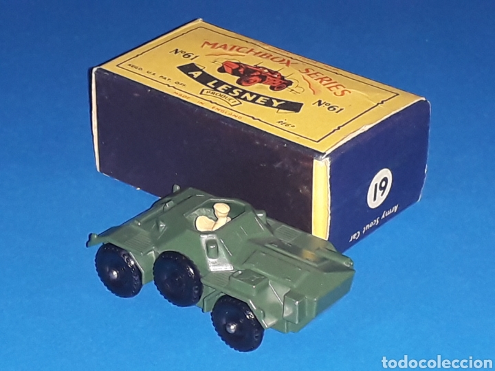 Coches a escala: Ferret Scout tanqueta militar ref. 61-A, metal esc 1/87, Lesney Matchbox England, año 1959. Con caja - Foto 3 - 126255523
