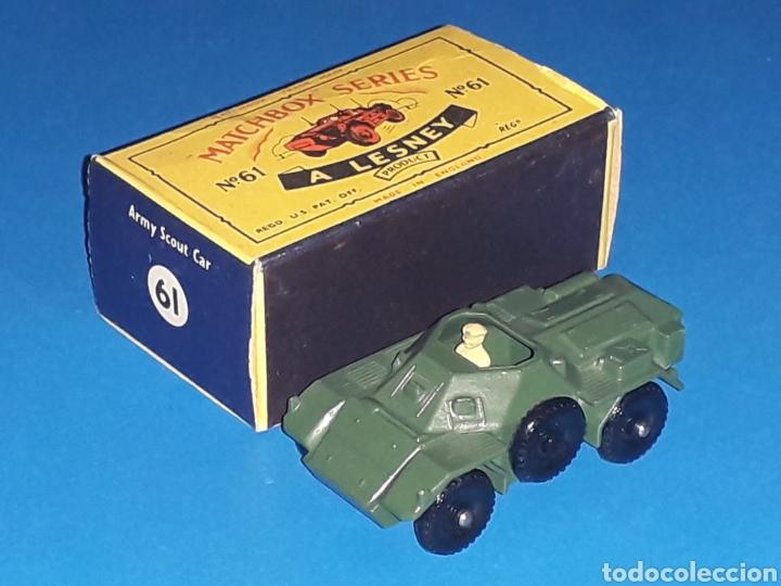 Coches a escala: Ferret Scout tanqueta militar ref. 61-A, metal esc 1/87, Lesney Matchbox England, año 1959. Con caja - Foto 4 - 126255523