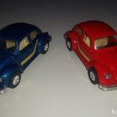 Coches a escala: LOTE 2 COCHES DE METAL VW VOLKSWAGEN BEETLE ROJO Y AZUL FRICCION ESCALA 1/36AÑOS 80. Lote 148377174