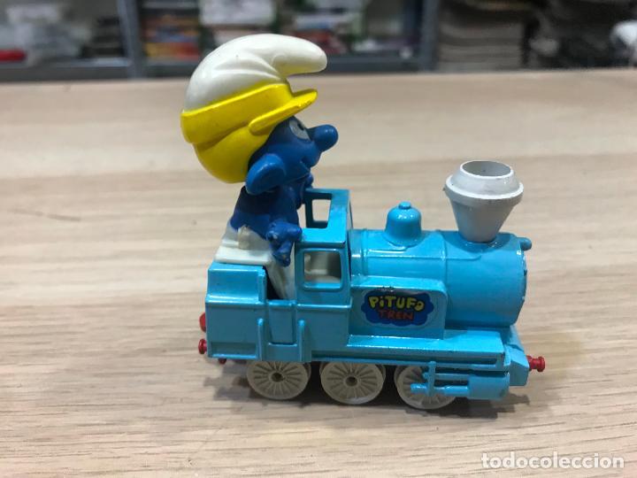 Coches a escala: coche guisval tren locomotora pitufos pitufo pvc peyo vintage años 80 - Foto 3 - 158118882