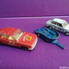 Coches a escala: LOTE MIRA SEAT 128 FORD TAUNUS BOMBEROS Y REMOLQUE PARA MOTO (GUISVAL GISIMA MATCHBOX PILEN) 1:64. Lote 167529100