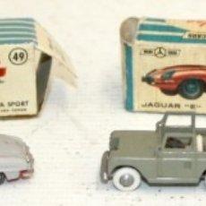 Coches a escala: LOTE 5 COCHES DE JUGUETE DE MANUFACTURA ESPAÑOLA. MINI CARS (SEAT, JAGUAR, LAND ROVER) ESCALA 1/86. Lote 172808500