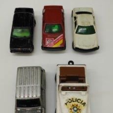 Coches a escala: LOTE GUISVAL 5 COCHES - PATROL-4WD - SEAT MALAGA - MERCEDES 500 SEC - SEAT 131 - JEEP POLICIA. Lote 169647878