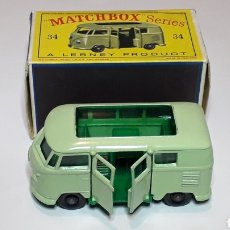 Coches a escala: VW VOLKSWAGEN CAMPING CARAVETTE REF. 34, MIDE 6,5 CMS. LESNEY MATCHBOX ENGLAND, ORIGINAL AÑO 1962.. Lote 182124170