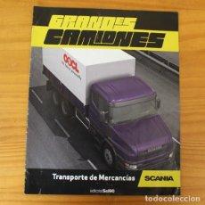 Coches a escala: GRANDES CAMIONES, TRANSPORTE DE MERCANCIAS SCANIA, FASCICULO EDITORIAL SOL90. Lote 194982067
