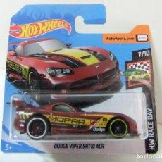 Coches a escala: DODGE VIPER SRT10 ACR - HOT WHEELS MATTEL HW RACE DAY 2020 7/10 ESCALA 1:64 COCHE MOPAR AUTO JUGUETE. Lote 195359563