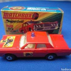 Coches a escala: MATCHBOX SUPERFAST NEW 59, MERCUTY FIRE CHIEF CAR, NUEVO Y EN CAJA, ESCALA 1/64. Lote 204128671