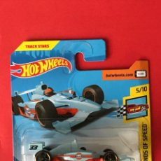 Coches a escala: HOT WHEELS 2018 123/365 - INDY 500 OVAL GULF - LEGENDS OF SPEED - NUEVO EN BLISTER - ESCALA 1:64. Lote 217028047