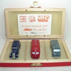 Coches a escala: SET 2001 DE FURGONETAS MERCEDES DKW Y VOLKSWAGEN SCHUCO PICCOLO ESCALA 1:90. Lote 221944528