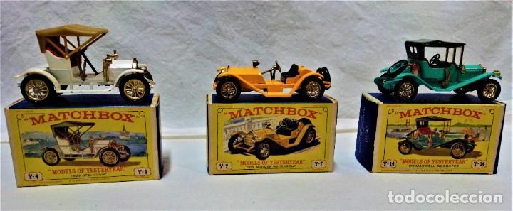 LOTE 3 MODELOS COCHES ANTIGUOS MATCHBOX.Y4,Y7,Y14.EN SUS CAJAS.VER DESCRIPCIÓN Y FOTOGRAFIAS. (Juguetes - Coches a Escala Otras Escalas )