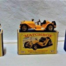 Coches a escala: LOTE 3 MODELOS COCHES ANTIGUOS MATCHBOX.Y4,Y7,Y14.EN SUS CAJAS.VER DESCRIPCIÓN Y FOTOGRAFIAS.. Lote 232858550