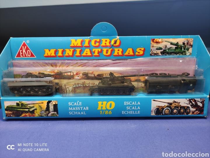 CAJA MILITAR EKO MICRO MINIATURAS H0, 1/86 CON TRES MODELOS, NUEVA DE LOS AÑOS 70 , REF 4710 (MOD.1) (Juguetes - Coches a Escala Otras Escalas )