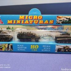 Coches a escala: CAJA MILITAR EKO MICRO MINIATURAS H0, 1/86 CON TRES MODELOS, NUEVA DE LOS AÑOS 70 , REF 4708. Lote 243034705