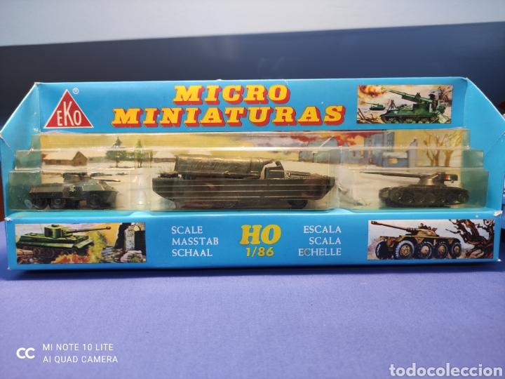 CAJA MILITAR EKO MICRO MINIATURAS H0, 1/86 CON TRES MODELOS, NUEVA DE LOS AÑOS 70 , REF 4706 (Juguetes - Coches a Escala Otras Escalas )