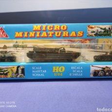 Coches a escala: CAJA MILITAR EKO MICRO MINIATURAS H0, 1/86 CON TRES MODELOS, NUEVA DE LOS AÑOS 70 , REF 4706. Lote 243035075