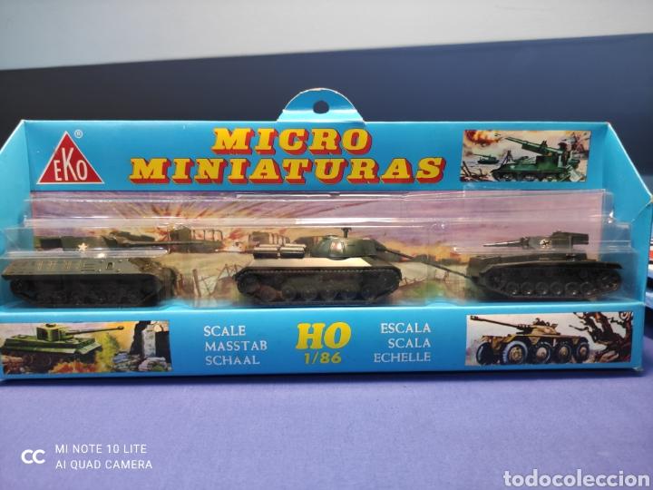 CAJA MILITAR EKO MICRO MINIATURAS H0, 1/86 CON TRES MODELOS, NUEVA DE LOS AÑOS 70 , REF 4709 (Juguetes - Coches a Escala Otras Escalas )