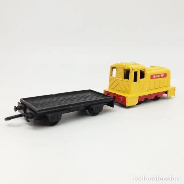 Coches a escala: Locomotora Máquina SHUNTER nº 24 esc 1:102 ref 24 años 1979 a 82 de Matchbox Lesney + vagón Flat Car - Foto 2 - 243922730