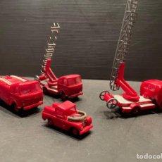 Coches a escala: LOTE DE 4 COCHES DE BOMBEROS DE JUGUETE (MINI CARS - ANGUPLAS). Lote 245410955