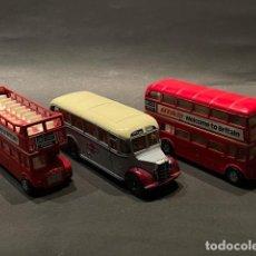 Coches a escala: LOTE DE 3 COCHES - AUTOBUSES DE JUGUETE MARCA (CORGI) - GREY CARS - LONDON TRANSPORT. Lote 246230485