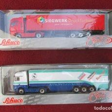 Auto in scala: LOTE DE 2 CAMIONES SCHUCO METAL 1/87:MERCEDES BENZ ACTROS V8 (REF.22047) Y MAN TG-A (REF.22658). Lote 253290415