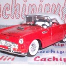 Coches a escala: FORD THUNDERBIRD ROUTE 66 AÑO 1955 ABREPUERTAS ESCALA 1,34 DE METAL .. !LINDO¡. Lote 262590760