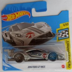 Coches a escala: HOT WHEELS 2016 FORD GT RACE. HW SPEED GRAPHICS 1/10 (1). Lote 262622960