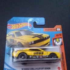 Coches a escala: HOT WHEELS 16 DODGE CHALLENGER SRT DEMON 10/10 MUSCLE MANIA 234/250 2020.. Lote 279589783