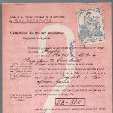 Coches: DOCUMENTACIÓN VEHÍCULO MOTOR MÉCANICO, PERMISO CIRCULACIÓN VEHÍCULO RUGBY, 1928. Lote 82733912