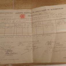 Coches: 1934,ALFAJARIN, ZARAGOZA, PATENTE NACIONAL DE CIRCULACION DE AUTOMOVILES, BAJA DE FORD 16CV,. Lote 140399932