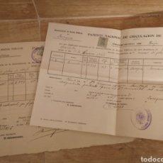 Coches: 1927. ZARAGOZA, PATENTE NACIONAL DE CIRCULACION DE AUTOMOVILES, LOTE ALTA-BAJA RENAULT 12CV. Lote 140400392