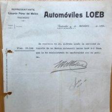 Coches: AUTOMÓVILES LOEB - REPRESENTANTE EDUARDO PÉREZ DEL MOLINO - CARTA RECIBO COMPRA DE CAMIÓN - AÑO 1920. Lote 140529826