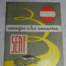 Coches: CATÁLOGO SEAT. CONSEJOS A LOS USUARIOS. AÑO 1965. TIENE 51 PÁGINAS Y MIDE 21 X 14.5 CMS . Lote 145487042