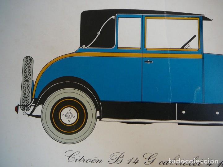 Coches: Lámina Citroen B14 G cabriolet 4 plazas descapotable - 1928 - Foto 3 - 147498330