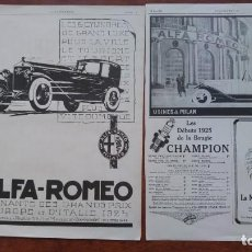 Coches: ALFA ROMEO 6 CILINDROS MILANO ITALIA AUTOMOVILE S ANTIGUOS 2 HOJAS REVISTA AÑO 1925. Lote 155650414