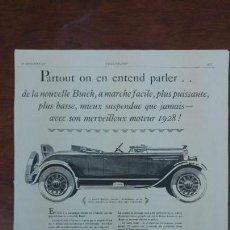 Coches: BUICK AUTOMOVILES ANTIGUOS GENERAL MOTORS LOTE 7 HOJAS PUBLICIDAD REVISTAS AÑOS 1927-1928-1929. Lote 155667042